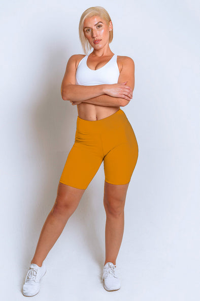 High Waisted Biker Shorts – Mustard