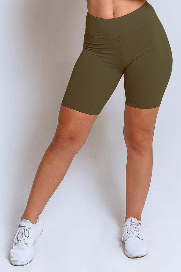 High Waisted Biker Shorts – Olive