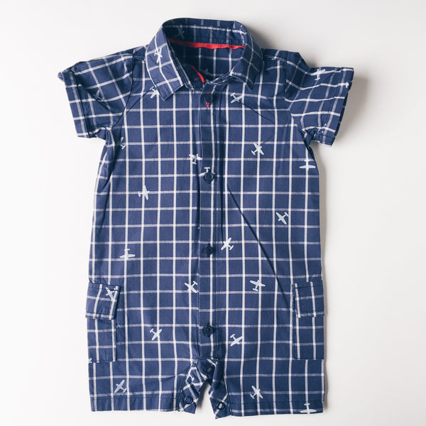 Romper - Marks And Spencer Navy Checked Romper</br>3-6 Months