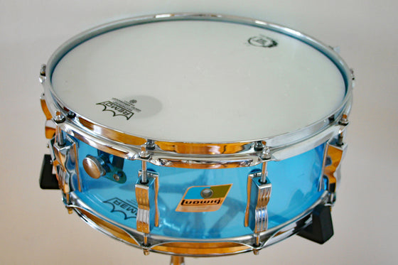 "Used Ludwig Vistalite Blue Snare Drum 14x5"" 1978"