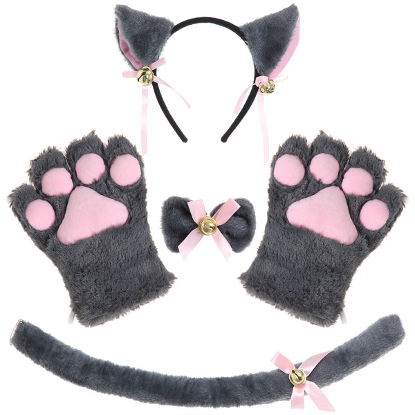 JustinCostume Cat Cosplay Set Ears Tail Collar Paws - JustinCostume