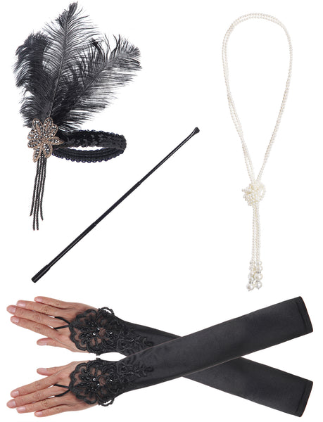 JustinCostume 1920s Accessories Headband Necklace Gloves Cigarette Holder Boa - JustinCostume