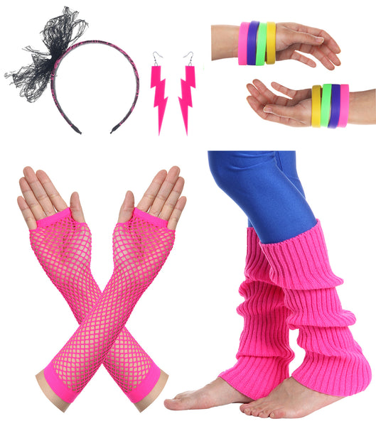 JustinCostume Women's 80s Outfit accessories Neon Earrings Leg Warmers Gloves - JustinCostume