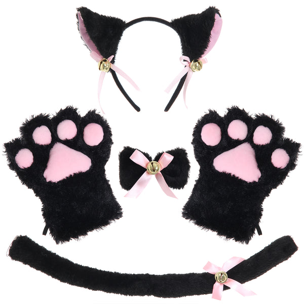 JustinCostume Cat Cosplay Set Ears Tail Collar Paws