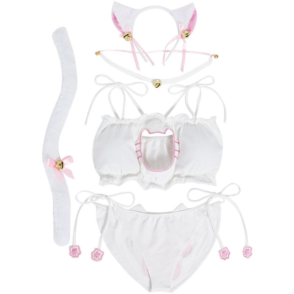 JustinCostume Women's Cosplay Lingerie Set Kitten Keyhole Cute Sexy Outfit - JustinCostume