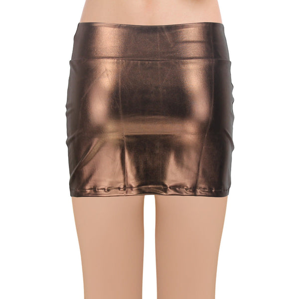 JustinCostume Women's Shiny Metallic Liquid Short Mini Skirt - JustinCostume