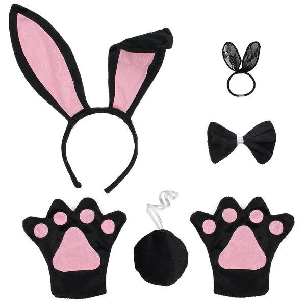 JustinCostume Bunny Cosplay Set Ears Tail Bowtie Paws Hair Tie - JustinCostume
