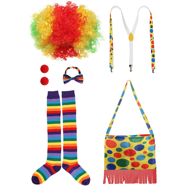 JustinCostume Clown Accessories Wig/Hat Socks Nose Bowtie Suspenders