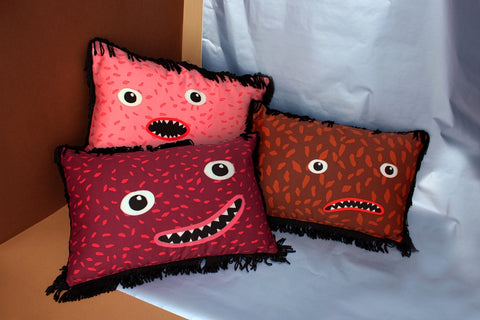 Colorful designer pillows with fringes by My Friend Paco