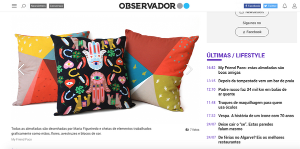 My Friend Paco designer cushions at Observador.pt