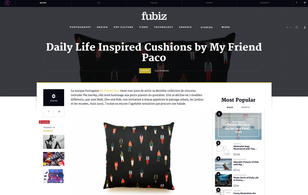 Fubiz blog features designer printed cushions by my friend paco