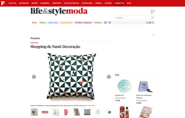 Publico website magazine features designer printed cushions by my friend paco