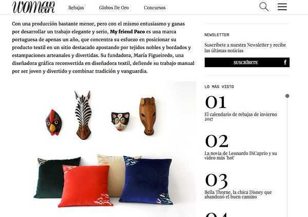 woman madame decor magazine features designer cushions by my friend paco