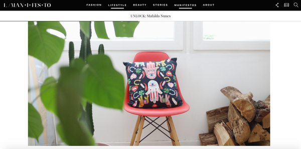 L manifesto features designer printed cushions by my friend paco at blogger Mafalda Nunes' home