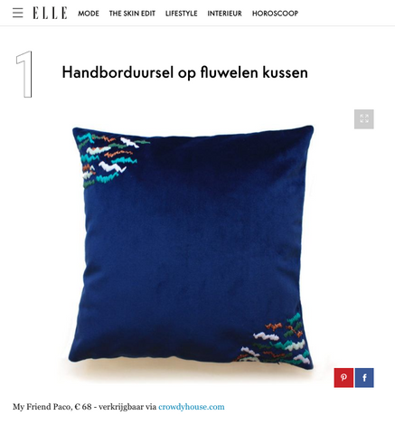 ELLE NL features embroidered velvet cushion by my friend paco