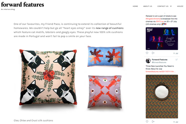 silk designer cushions by my friend paco at blog forward features