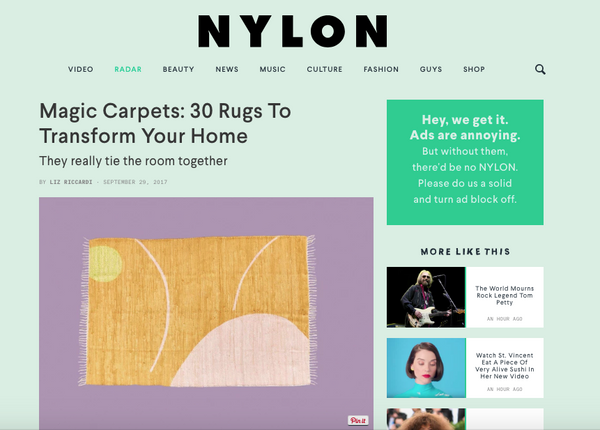 "my friend paco wool rug ""Hanoi"" at Nylon"