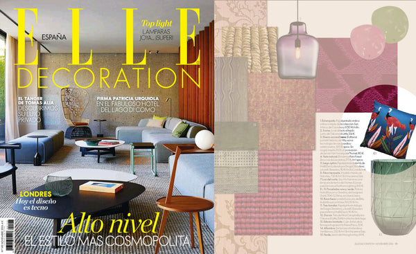 Elle decor interior design magazin from spain features printed designer cushion by My Friend Paco