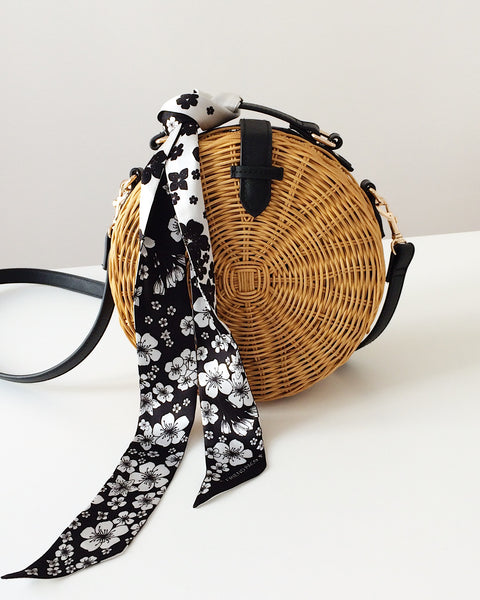 black and white Silk scarf bag my friend paco