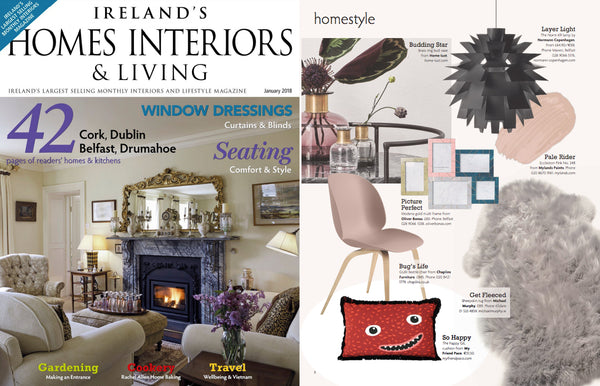 Homes Interiors Ireland features my friend paco printed cotton cushion
