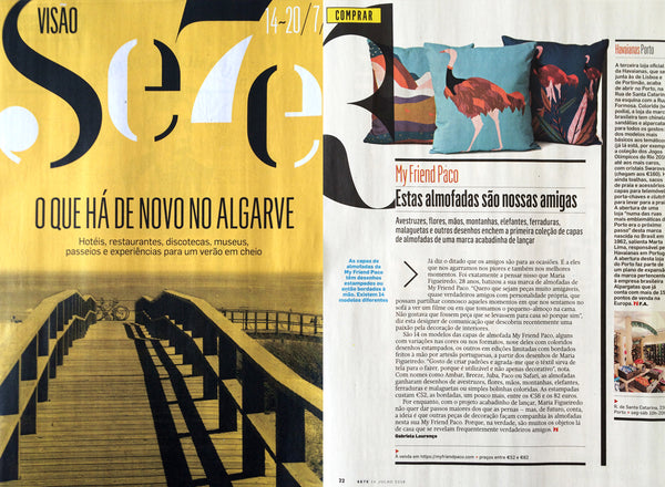 My Friend Paco designer printed cushions at Visão magazine