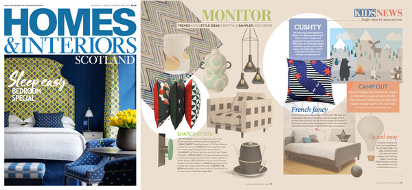 homes and interiors decor magazine features designer printed cushions by my friend paco