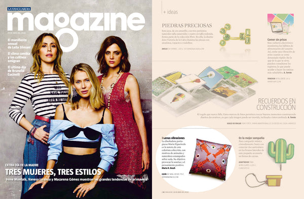 my friend paco cushion at la vanguardia magazine