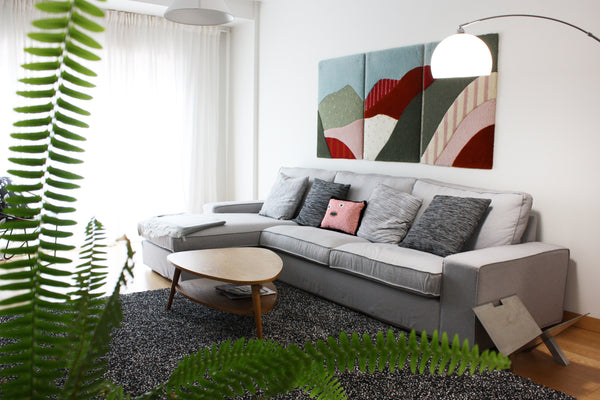 Hoian triptych rugs and Maria Amelia cushion by My Friend Paco - Living room