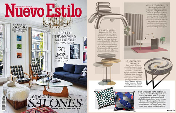 nuevo estilo decor magazine features designer printed cushions by my friend paco