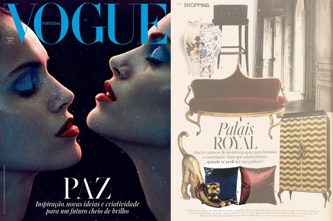 Vogue Portugal magazine features Wind embroidered velvet cushions by my friend paco