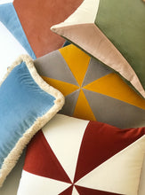Load image into Gallery viewer, QUARTZ I blue & camel velvet cushion - My Friend Paco