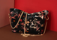Load image into Gallery viewer, MAGICAL BUNNY black velvet bag designer cushions, silk scarfs, rugs and bags - My Friend Paco