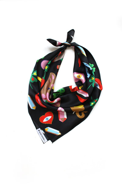 LUK designer silk scarf My Friend Paco