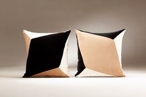 QUARTZ II black & white velvet cushion designer cushions, silk scarfs, rugs and bags - My Friend Paco