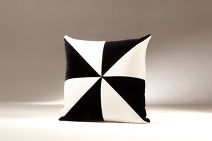 SAFIRA black and white velvet cushion designer cushions, silk scarfs, rugs and bags - My Friend Paco