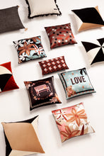 Load image into Gallery viewer, LOVE GARDEN silk cushion designer cushions, silk scarfs, rugs and bags - My Friend Paco