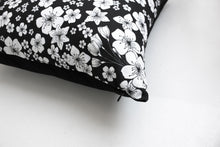 Load image into Gallery viewer, SAKURA black cushion designer cushions, silk scarfs, rugs and bags - My Friend Paco