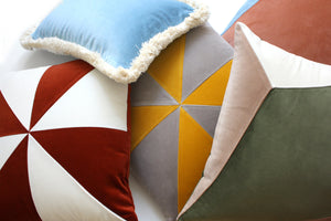 SAFIRA mustard & taupe velvet cushion designer cushions, silk scarfs, rugs and bags - My Friend Paco