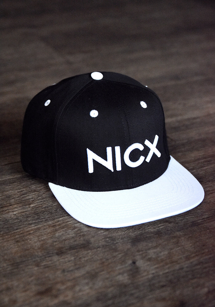 White & Black NICX Snapback Hat