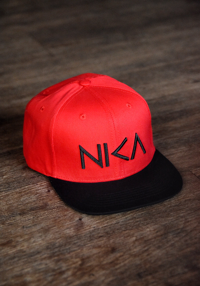 Red & Black NIKA Snapback Hat