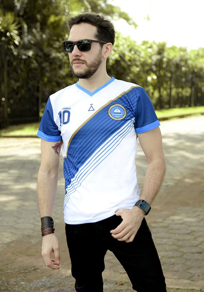 Banda Diagonal White and Blue Soccer Jersey