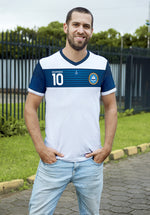 Barra Horizontal White and Blue Soccer Jersey