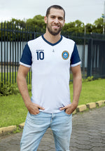 Clasica 1 White and Blue Soccer Jersey