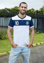 Clasica 2 White and Blue Soccer Jersey