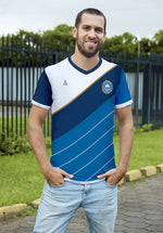 Diagonal 2 White and Blue Soccer Jersey