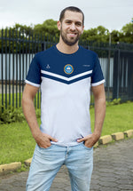 Triangular 2 White and Blue Soccer Jersey