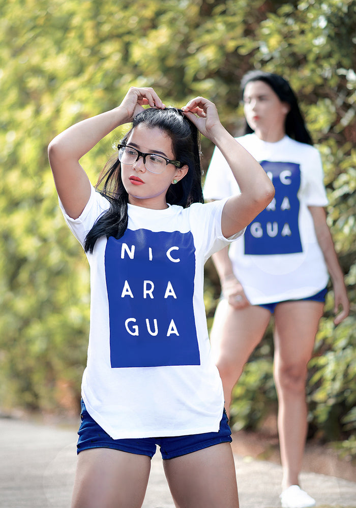 Nicaragua Blue Colors Rectangle Women's  T-Shirt