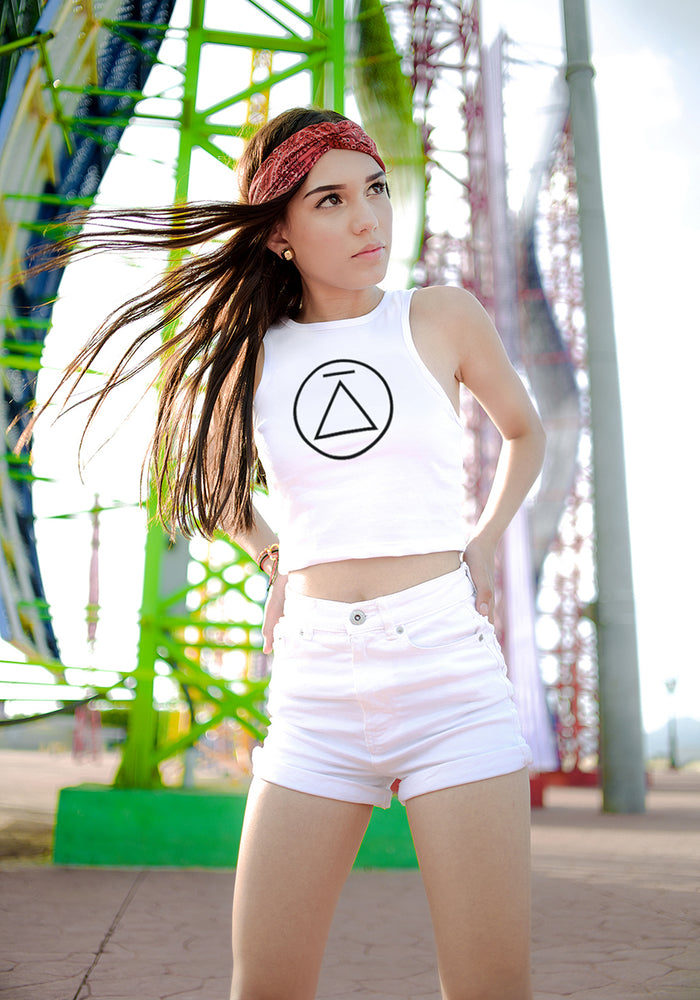 Logo Circle White Women's Tank Crop Top