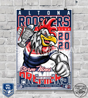Altona Roosters RLC 2020 Premiership Poster