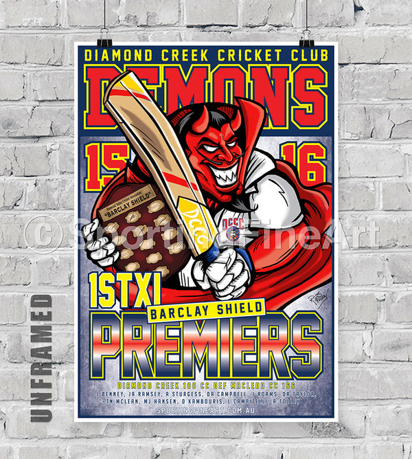 Diamond Creek Cricket Club 15/16 Premiership Poster